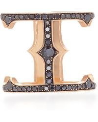 Sylva & Cie - 14k Rose Gold And Black Diamond Cage Ring - Lyst