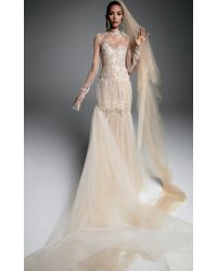 Vera Wang - Sandrine Tulle Gown With Arch Tiered Skirt - Lyst