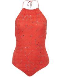 Missoni - Embroidered Halter Neck Onepiece Swimsuit - Lyst