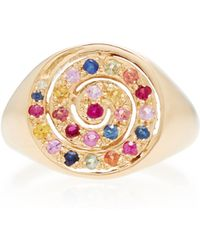 She Bee - 14k Yellow Gold And Sapphire Spiral Ring - Lyst