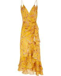 Johanna Ortiz - Milagro De Miel Wrap-effect Printed Dress - Lyst