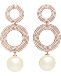 Joanna Laura Constantine - Grommets Gold-plated Brass, Cubic Zirconia, And Pearl Earrings - Lyst