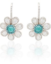 Martin Katz - One-of-a-kind Paraiba Cabochon Flower Earrings - Lyst