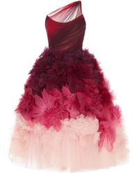 Marchesa - One-shoulder Ombré Tulle And Organza Midi Dress - Lyst