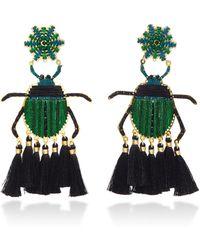 Mercedes Salazar - Escarabajo Verde Gold-plated Tassel Earrings - Lyst