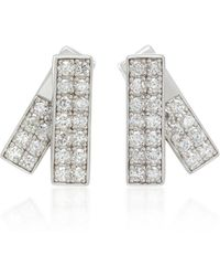 Lynn Ban - Insignia Sterling Silver And Diamond Earrings - Lyst