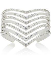 Lynn Ban - Sterling Silver White Sapphire Cuff - Lyst
