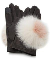 Maison Fabre - Pom Pom-embellished Leather Gloves - Lyst