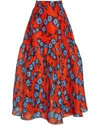 Carolina Herrera - Ruffled Floral-print Silk Skirt - Lyst