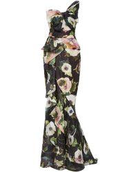 Marchesa - Floral Printed Silk-moire Peplum Gown - Lyst