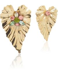Rodarte - Gold Stud Leaf Earrings With Swarovski Crystal Details - Lyst