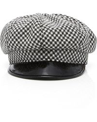 7608bb9e6f492 ... Kate Houndstooth Beret - Lyst. Eric Javits - Carnaby Packable Baker Boy  Cap - Lyst