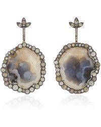 Kimberly Mcdonald - 18k Gold, Geode And Diamond Earrings - Lyst