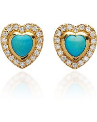 Khai Khai - 18k Gold, Turquoise, And Diamond Earrings - Lyst