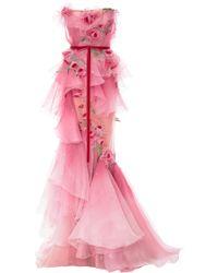 Marchesa - Ombre Tiered Silk Organza Gown - Lyst