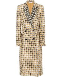Oscar de la Renta - Geometric Check Tailored Double Breasted Coat - Lyst