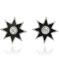 Colette - Twinkle Star 18k White Gold, Diamond And Enamel Earrings - Lyst