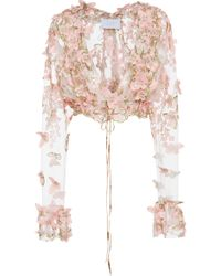 Luisa Beccaria - Butterfly Applique Chiffon Tie Front Jacket - Lyst