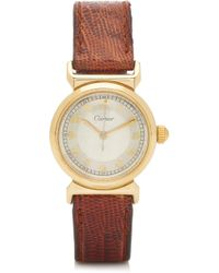 Cartier - 18k Gold And Leather Men's Watch - Lyst
