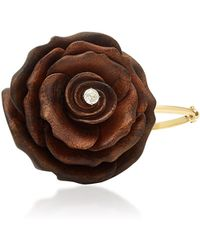 Silvia Furmanovich - Sculptural Botanical Marquetry Brown Rose Bracelet - Lyst