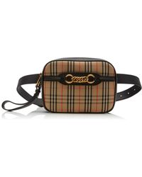 f54b8651d8b Burberry - Link Checked Leather Belt Bag - Lyst