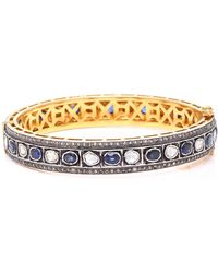 Sanjay Kasliwal - 14k Gold, Silver, Sapphire And Diamond Bracelet - Lyst