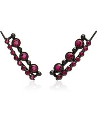Colette - 18k Black Gold Stone Ear Cuffs - Lyst