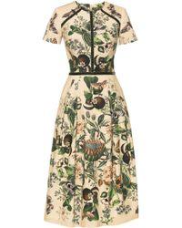 Lena Hoschek - Glasshouse Velvet-trimmed Printed Stretch-cotton Midi Dress - Lyst