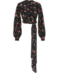 Michael Kors - Cropped Wrap-effect Floral-print Silk-crepe Top - Lyst