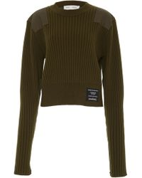 Proenza Schouler - Paneled Cable-knit Wool And Cotton-blend Sweater - Lyst