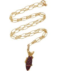 Khai Khai - 18k Gold, Diamonds, And Rubies Charm - Lyst