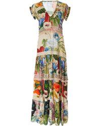 Carolina K - Catalina V-neck Embroidered Maxi Dress - Lyst