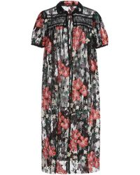 Anna Sui - Hibiscus Embroidered Mesh Coverup - Lyst