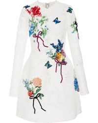 Monique Lhuillier - Embroidered Long Sleeve Lace Dress - Lyst