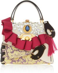 47ce1c5b7283 Dolce   Gabbana - Ruffle Embellished Top Handle Leather Bag - Lyst