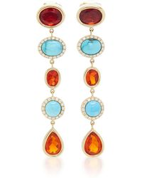 Katherine Jetter - Fire Opal And Turquoise Earrings - Lyst
