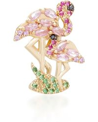 Yvonne Léon - Flamingo 18k Gold, Diamond And Tsavorite Single Earring - Lyst
