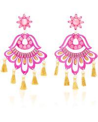 Mercedes Salazar - Fiesta Pink And Gold-tone Drop Tassel Earrings - Lyst