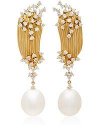 Hueb - Plisse 18k Gold, Diamond And Pearl Earrings - Lyst