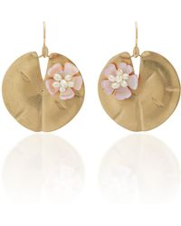 Annette Ferdinandsen - Lily Pad 14k Gold And Pearl Earrings - Lyst