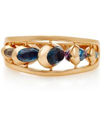 Marie Mas - Dancing 18k Rose Gold, Pink Amethyst And Blue Topaz Ring - Lyst