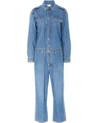a97a1fa91bf6 Lyst - Current Elliott The Zip Rosie Coverall Jumpsuit in Blue