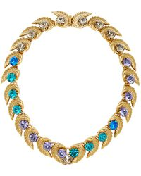 Nicole Romano | 18k Gold-plated Leaf And Colored Crystal Necklace | Lyst