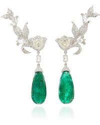 Amrapali - 18k Gold, Diamond And Emerald Earrings - Lyst