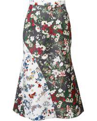 ANOUKI - Multicolor Flower Print Godet Skirt - Lyst