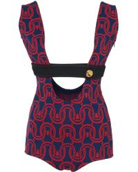 Prada - Cady Jacquard Sleeveless Bodysuit - Lyst