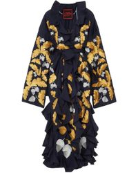 Yuliya Magdych - M'o Exclusive Ruffled Acorns Metallic Embroidered Robe - Lyst