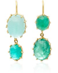 Renee Lewis | 18k Gold Cabochon Emerald Earrings | Lyst