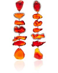 Nina Runsdorf - M'o Exclusive One-of-a-kind Fire Opal Long Earrings - Lyst