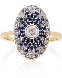 Yvonne Léon - Napoleon Star 18k Gold, Diamond And Tsavorite Ring - Lyst
